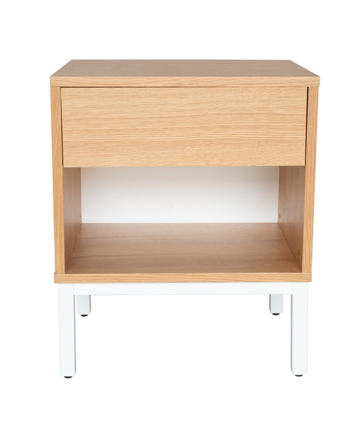 Bruno Bedside Table | Natural & White