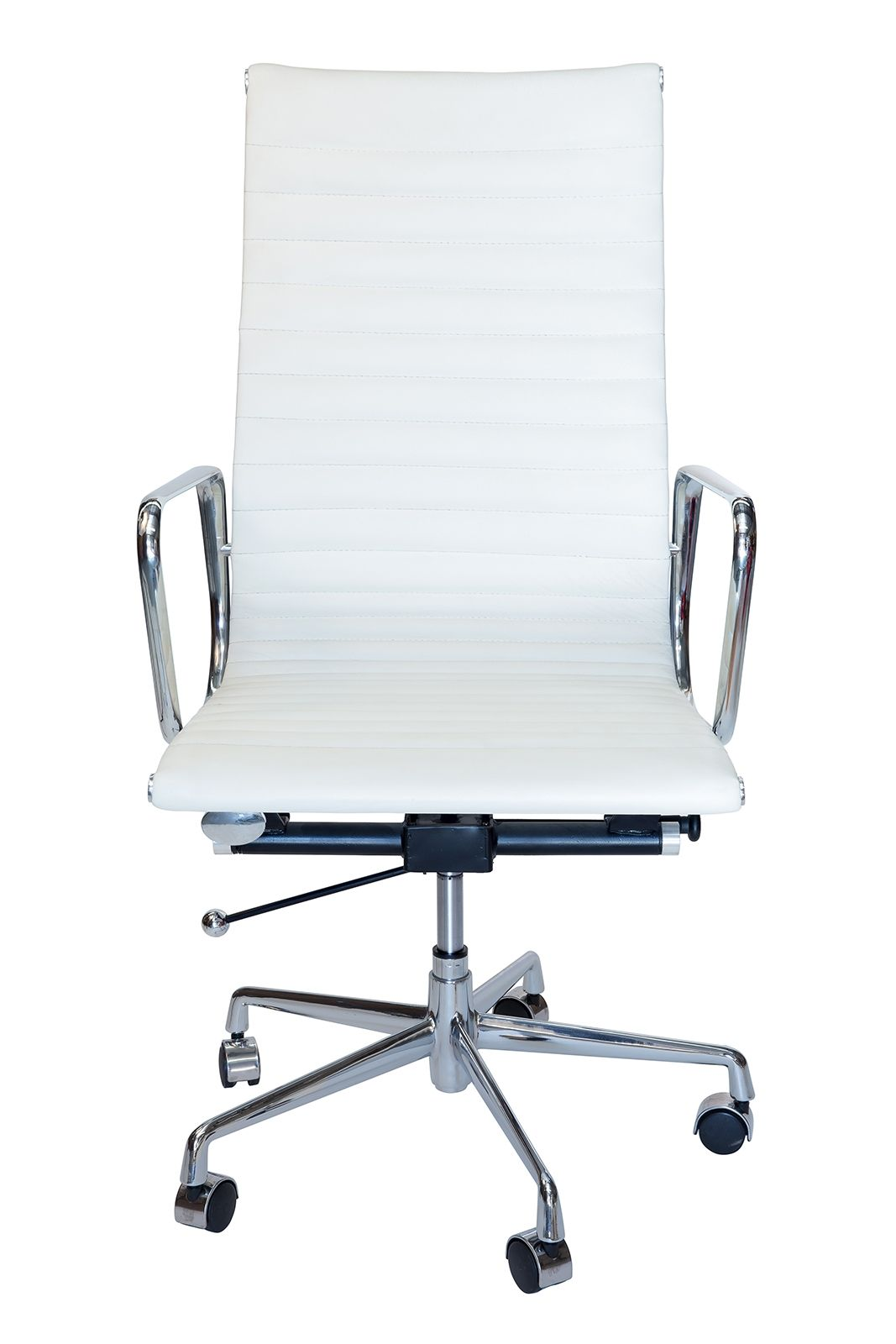 Replica Eames High Back Ribbed Leather Executive Desk / Office Chair | White