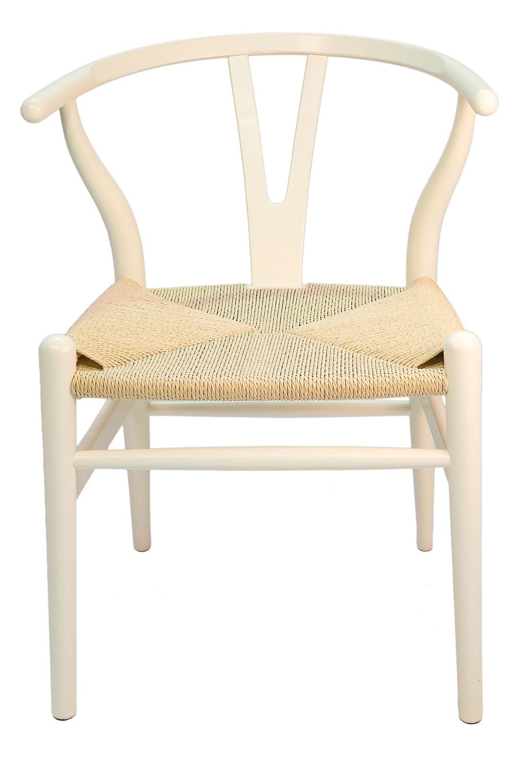 Replica Hans Wegner Wishbone Chair | White Frame & Natural Seat
