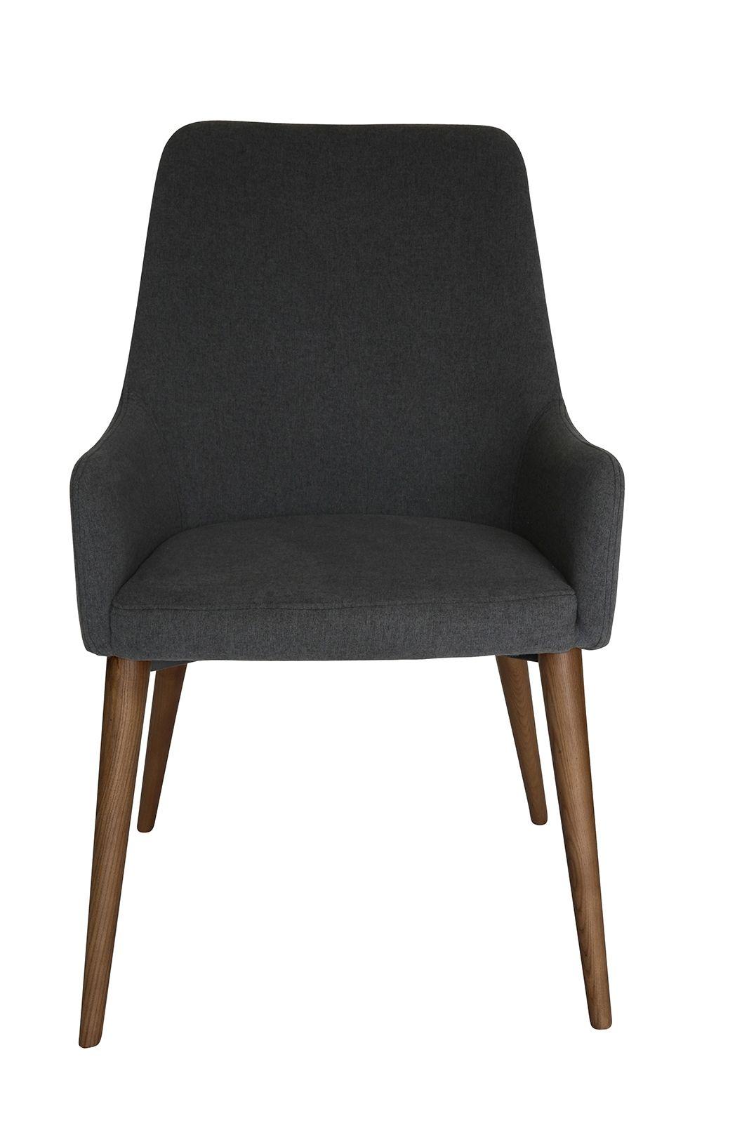 Rio Dining Chair | Dark Grey Fabric | Walnut Legs