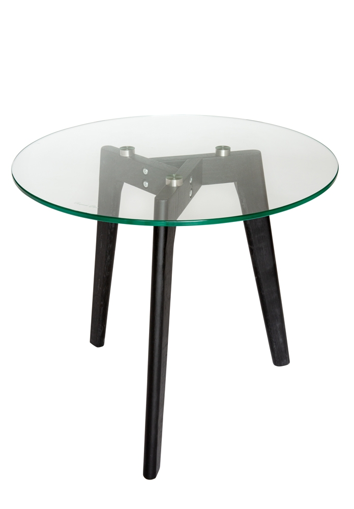 Stad Round Glass Side Table | Black