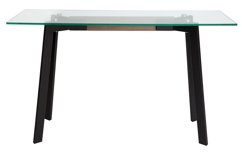 Vox Collection | Rectangular Glass Console Table | Matte Black & Walnut
