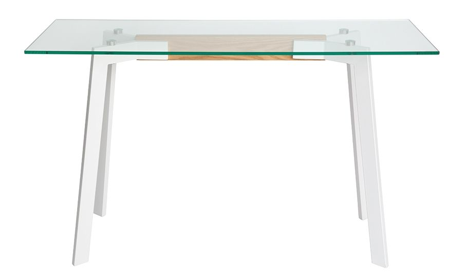 Vox Collection | Rectangular Glass Console Table | White & Natural