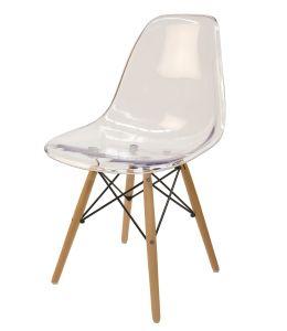 Replica Eames DSW Eiffel Chair - Clear Transparent & Natural Wood Legs