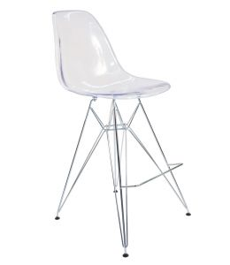 Replica Eames DSR Bar / Kitchen Stool | Clear Transparent | Chrome Legs