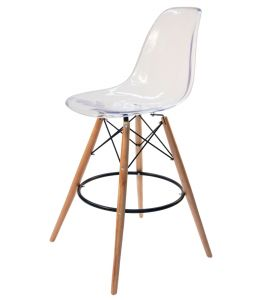 Replica Eames DSW Bar / Kitchen Stool | Clear Transparent | Natural Wood Legs