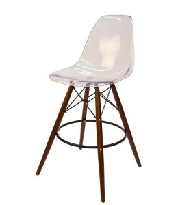 Replica Eames DSW Bar / Kitchen Stool | Clear Transparent | Walnut Legs