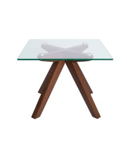 Amber Collection   Glass Side Table   Walnut