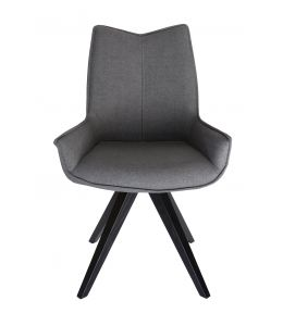 Amber Dining Chair | Black Legs | Dark Grey Fabric