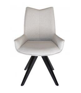 Amber Dining Chair | Black Legs | Light Grey Fabric