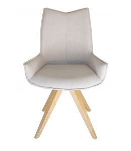 Amber Dining Chair | Natural Legs | Light Grey Fabric
