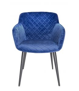 Ava Dining Chair | Velvet Seat & Black Legs | Navy / Blue