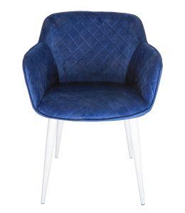 Ava Dining Chair | Velvet Seat & White Legs | Navy / Blue