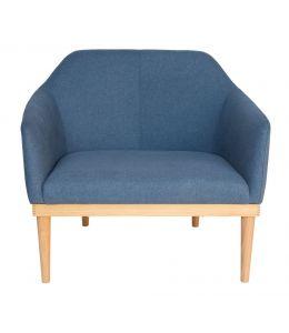 Bojan Arm Chair | Blue Fabric | Natural Legs