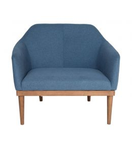 Bojan Arm Chair | Blue Fabric | Walnut Legs
