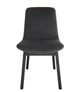 Cozy Dining Chair | Dark Grey Fabric | Black Legs