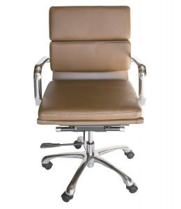 Eames Inspired Mid Back Soft Pad Management Desk / Office Chair | Brown