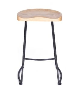 Farmhouse Tractor Stool | Black & Natural