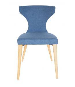 Havana Dining Chair | Blue Fabric | Natural Legs