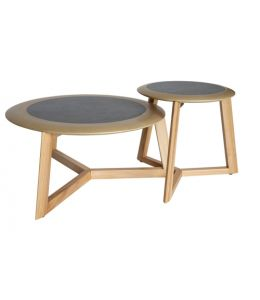 Lennie Round Nest Wood Coffee / Side Table | Natural & Black/Grey