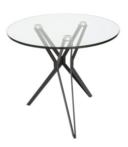 Miles Collection | Glass Round Side Table | Black & Clear