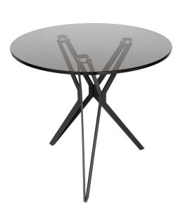 Miles Collection | Glass Round Side Table | Black & Smoke