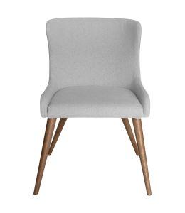 Osaka Dining Chair   Light Grey Fabric   Walnut Legs