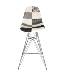 Replica Eames DSR Bar / Kitchen Stool | Multicoloured Patches V3 Fabric Seat | Chrome Legs