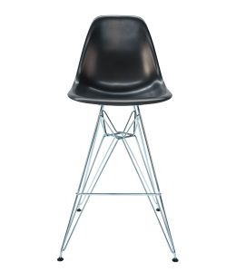 Replica Eames DSR Bar / Kitchen Stool & Chrome Legs | Black