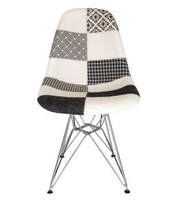 Replica Eames DSR Eiffel Chair   Multicoloured Patches V3 Fabric Seat   Chrome Legs