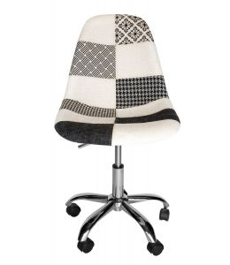 Replica Eames DSW / DSR Desk Chair | Multicoloured Patches V3 Fabric Seat