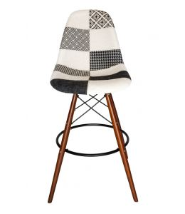 Replica Eames DSW Bar / Kitchen Stool | Multi Coloured Patches V3 Fabric Seat | Walnut Legs