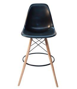 Replica Eames DSW Bar / Kitchen Stool | Natural Wood Legs | Black