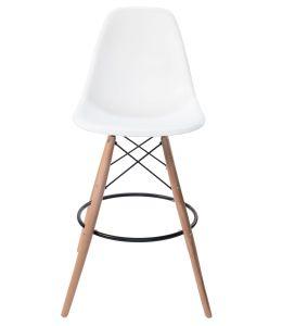 Replica Eames DSW Bar / Kitchen Stool | Natural Wood Legs | White