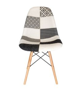 Replica Eames DSW Eiffel Chair   Multicoloured Patches V3 Fabric Seat   Natural Wood Legs
