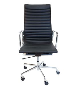 Replica Eames High Back Ribbed Leather Executive Office Chair | Black