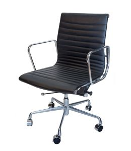 Replica Eames Low Back Ribbed Leather Management Office Chair