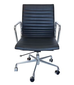 Replica Eames Mid Back Ribbed Leather Management Desk / Office Chair | Black