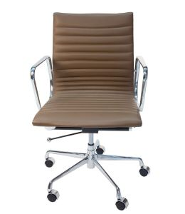 Replica Eames Mid Back Ribbed Leather Management Desk / Office Chair | Brown