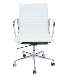 Replica Eames Low Back Ribbed Leather Management Office Chair | White