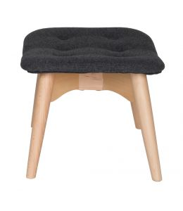 Replica Grant Featherston Ottoman | Grey / Charcoal Fabric | Natural Legs