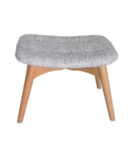 Replica Grant Featherston Ottoman | Textured Light Grey Fabric | Natural Legs