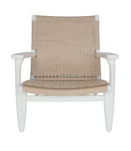 Replica Hans Wegner CH25 Easy Chair | White & Natural
