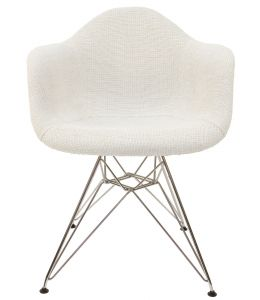 Replica Eames DAR Eiffel Chair | Ivory Fabric Seat | Chrome Legs