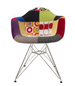Replica Eames DAR Eiffel Chair | Multicoloured Patches V1 Fabric Seat | Chrome Legs