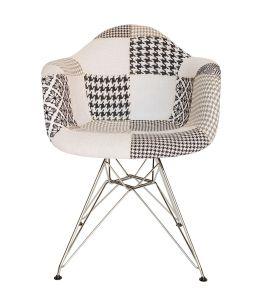 Replica Eames DAR Eiffel Chair   Multicoloured Patches V3 Fabric Seat   Chrome Legs
