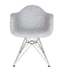 Replica Eames DAR Eiffel Chair | Textured Light Grey Fabric Seat | Chrome Legs