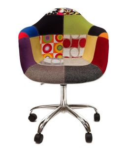 Replica Eames DAW / DAR Desk Chair | Multicoloured Patches V1 Fabric Seat