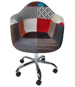 Replica Eames DAW / DAR Desk Chair | Multicoloured Patches V2 Fabric Seat