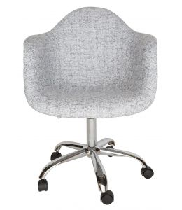 Replica Eames DAW / DAR Desk Chair | Textured Light Grey Fabric Seat